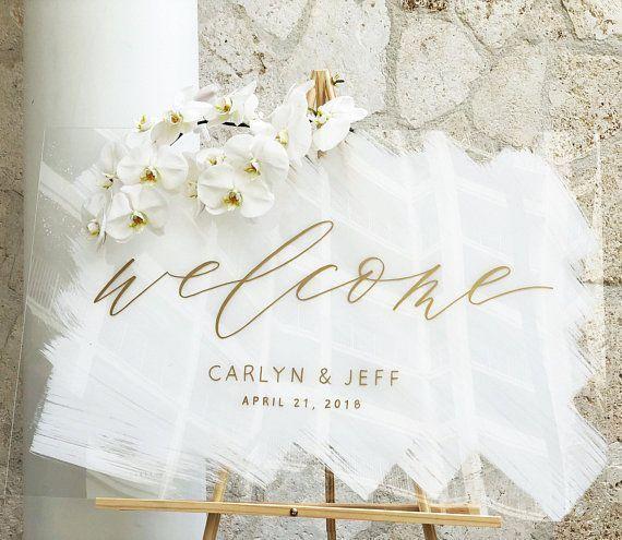 Acryl Hochzeit Zeichen, gemalt Acryl Willkommensschild, Plexiglas Hochzeit Willkommen ... #ceremonyideas