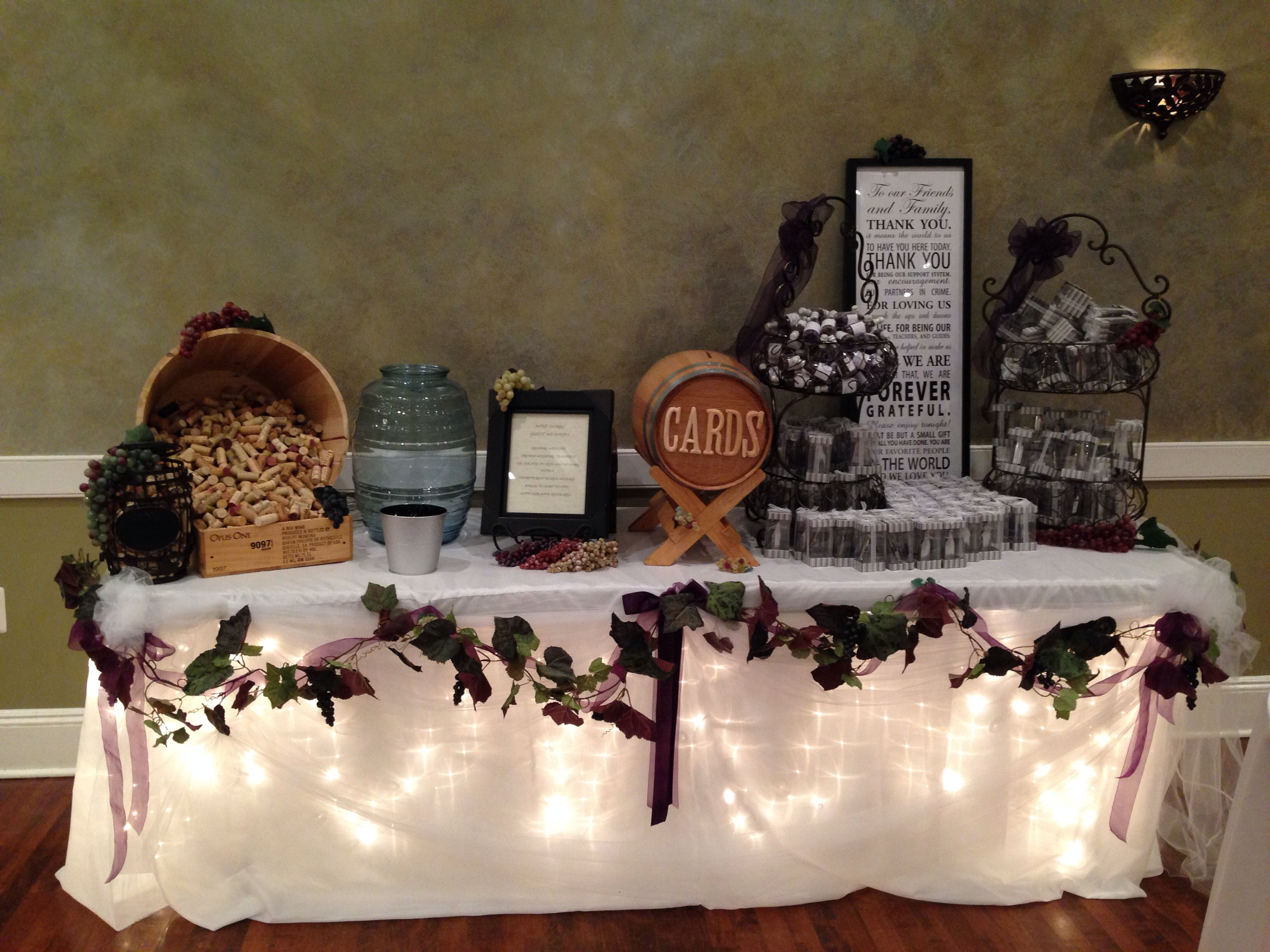 Wine Theme Wedding Gift Table