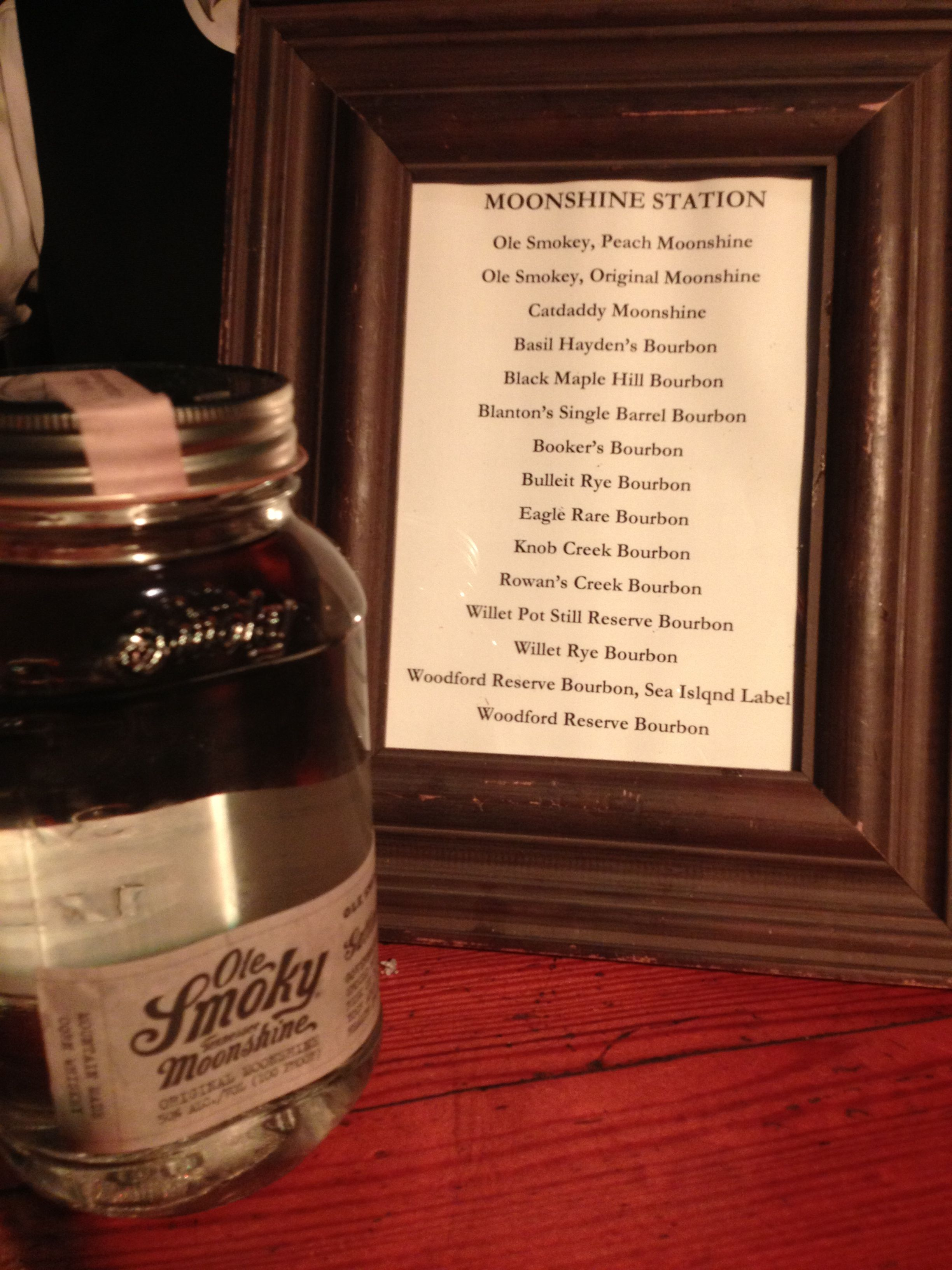 Bourbon Tasting Bar and a little Peach Moonshine