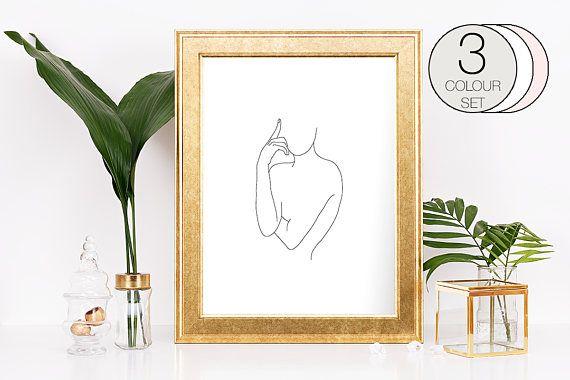 Single Line Art Print : Minimal woman body fashion wall art digital print line