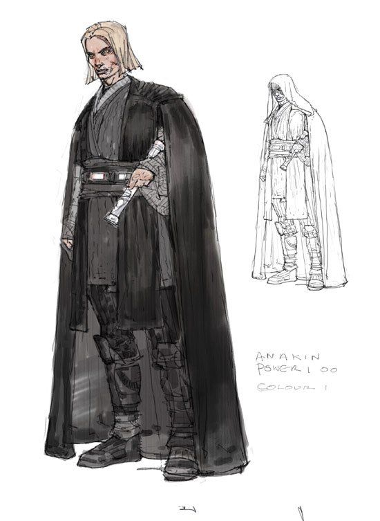 Conceptual Design For Anakin Skywalker As Seen In In Star Wars Episode Ii Attack Of The Clones 2002 The Silhouette Of The Robe And T Star Wars Concept Art Star Wars