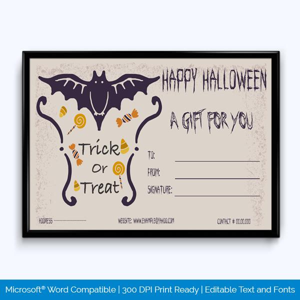 Blank Halloween Gift Certificate Template Word Layouts Gift Certificate Template Word Gift Certificate Template Gift Card Template
