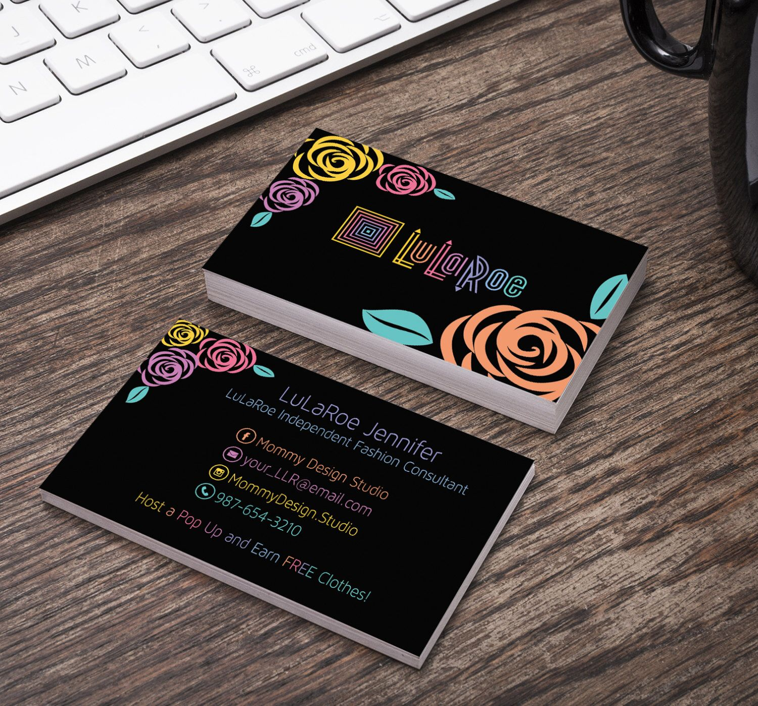 black card with llr colored roses lularoe business card