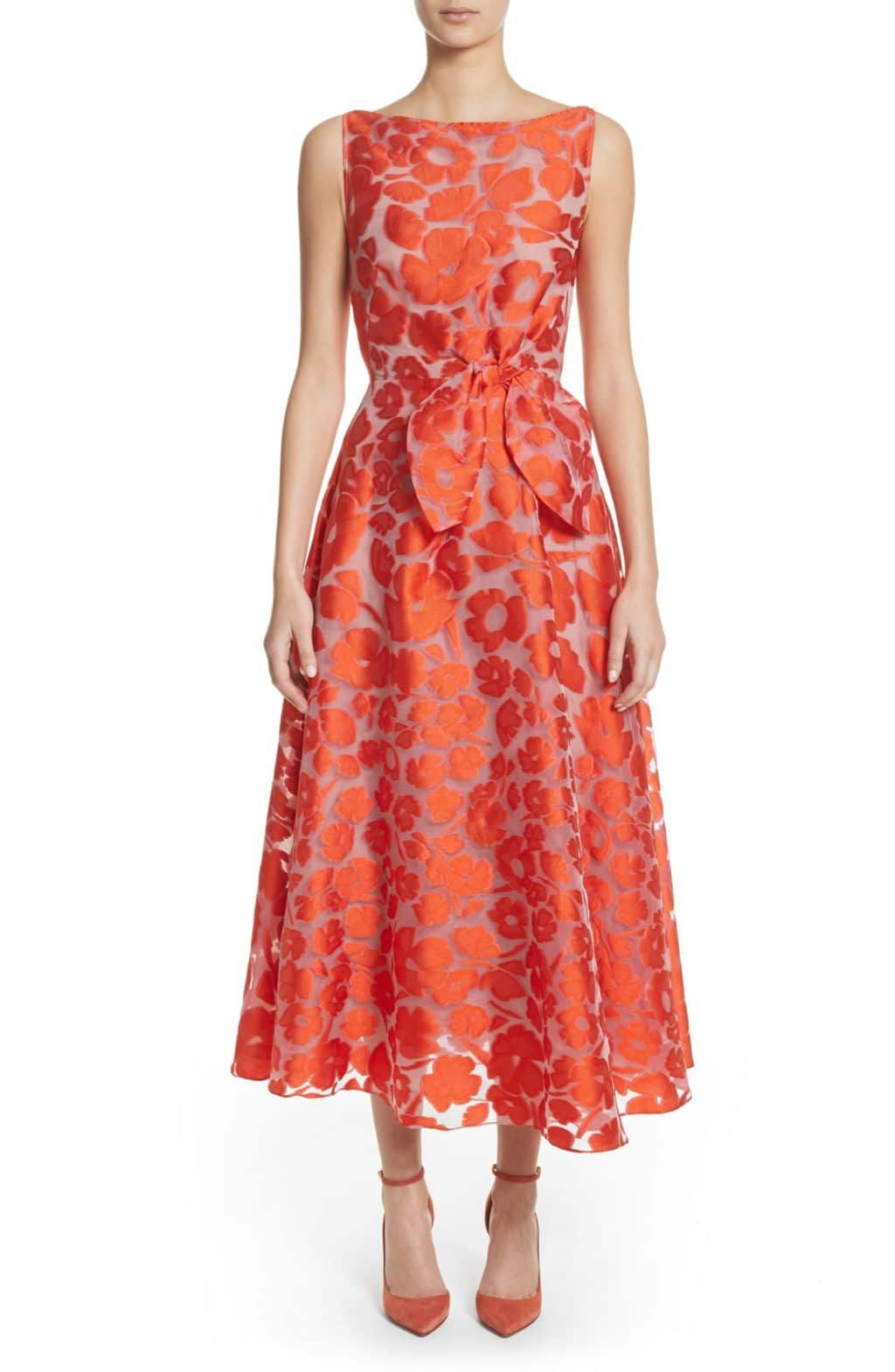 61afd14e5d A garden of gorgeous fil coupé flowers is in full bloom across a  classically elegant tea-length dress that s nipped at the waist with a  charming bow.47