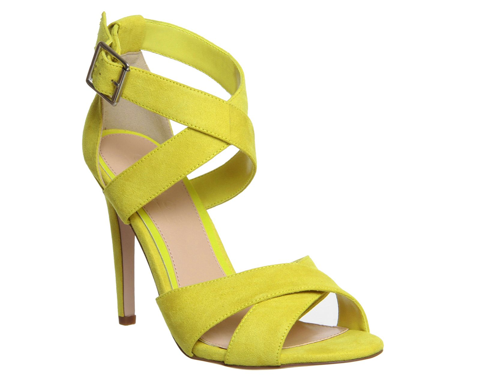 Office Passion Cross Strap Single Sole Sandal Chartreuse - High Heels