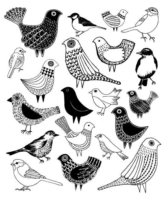 Yes! Doodle birds! Love the patterns added here. Great details to bring your doodles to the next level. // Credit: Birds, limited
