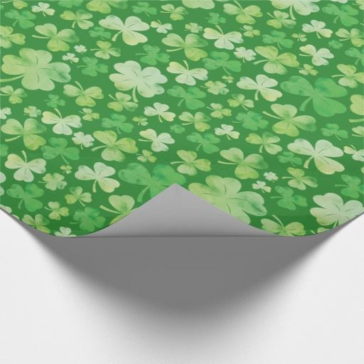 St Patricks Day Green Watercolour Shamrock Pattern Gift Wrap Paper