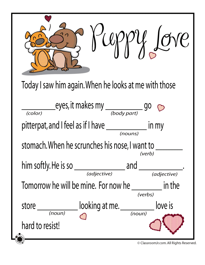 New Valentine's Day printable mad libs for kids, free to