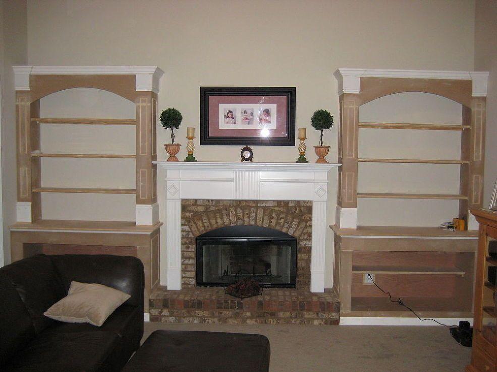 Built in bookshelves in living room DIY :: Hometalk