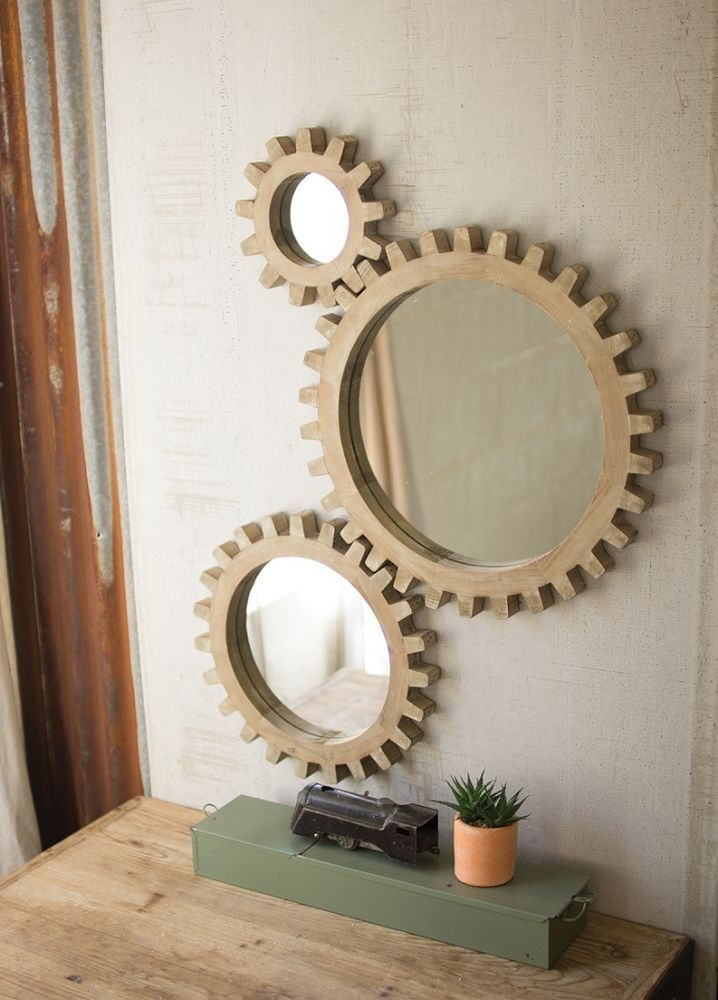 Gear Wall Mirrors Industrial Warehouse Round Wood Cog Gears Steampunk Set Of 3 Modern Mirror Wall Mirror Design Wall Mirror Wall Decor