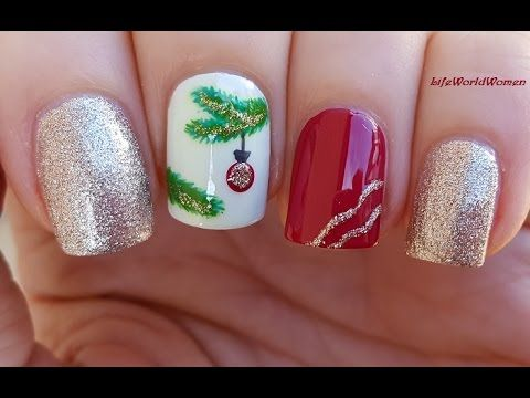 Christmas Tree Branch Nail Art Red Gold Nails For Holidays Youtube Christmas Nails Acrylic Red And Gold Nails Christmas Nails