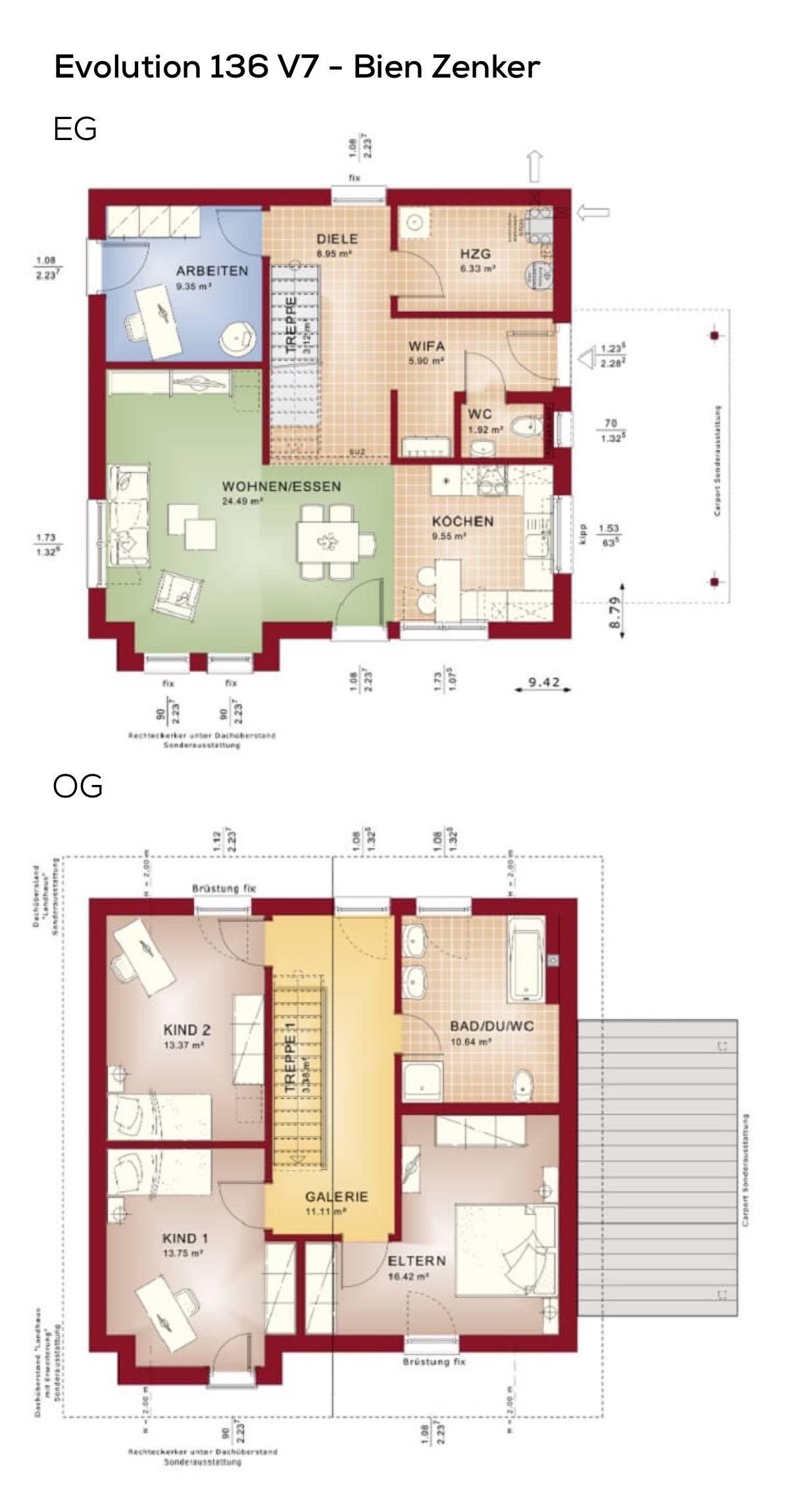 Grundriss Einfamilienhaus quadratisch mit Galerie