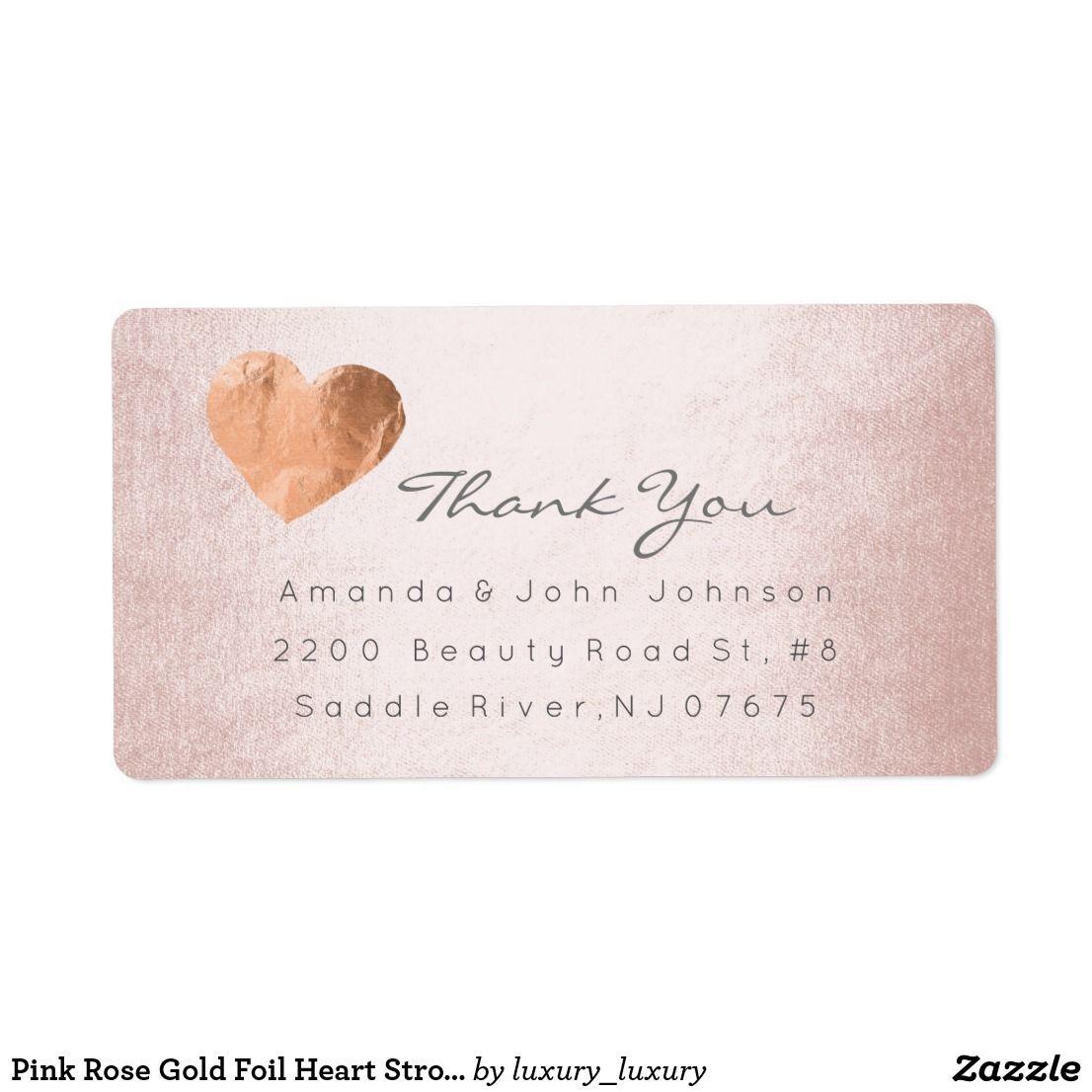 Pink Rose Gold Foil Heart Stroke Thank You Label Zazzle Com Rose Gold Foil Thank You Labels Pink Rose
