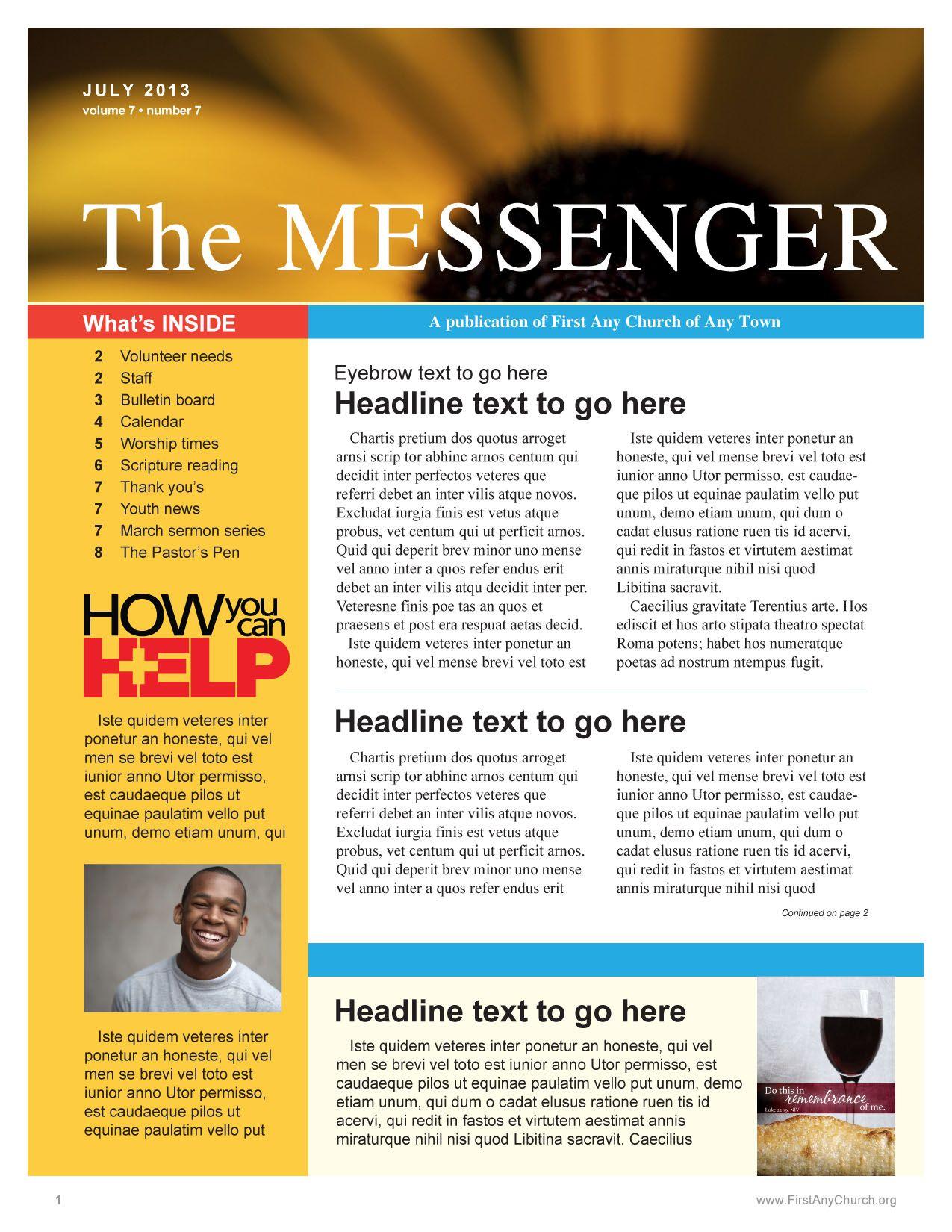Church Newsletter Template With A Summer Theme Newsletter