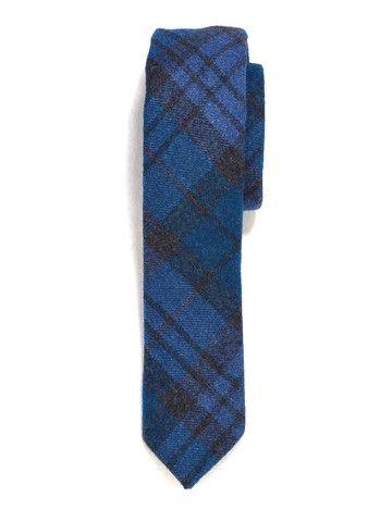Blue Plaid Wool Tie