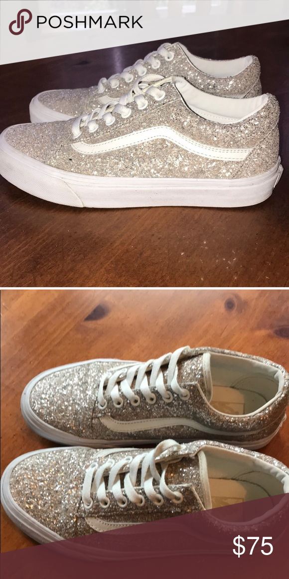 149a2dface9 Glamour Glitzy Glitter Rose Gold Sparkle Vans Purchased NEW from another  Posher