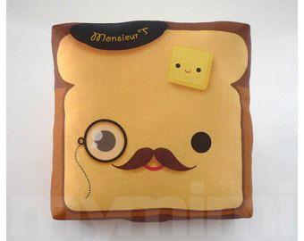 movember coussin decoratif toast oreiller pain dore kawaii oreiller oreiller de