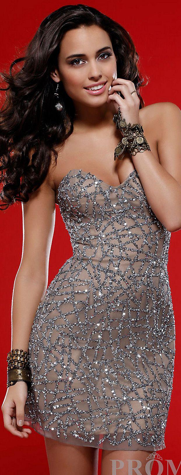 Mini dress #strapless #sexy #glitter <3   D R E S S E S   Pinterest