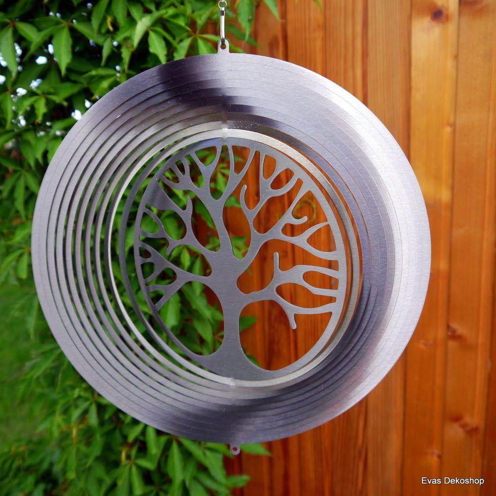 Inspirational Windspiel Edelstahl Lebensbaum XXL cm Durchmesser Windrad Garten