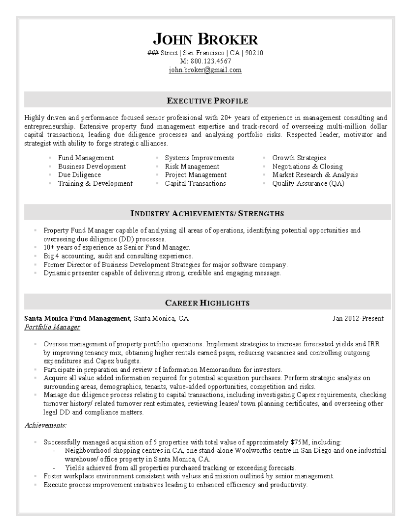 Big 4 Cv Template Manager Resume Finance Career Resume Examples
