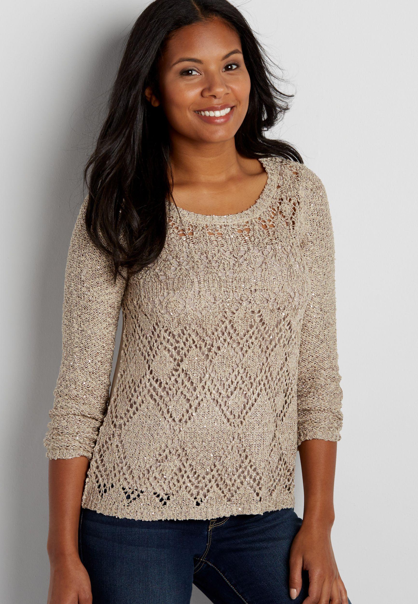 sweater with diamond stitching and chiffon back $39.00  now $23.40