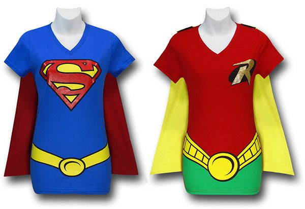 again ...so easy...Supergirl and Robin Caped Costume T-Shirts