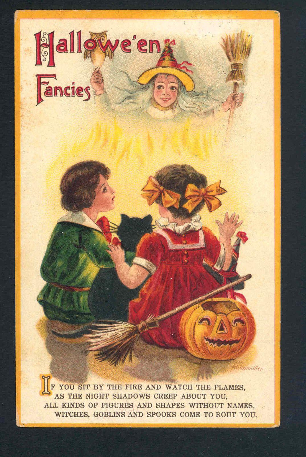 scarce heinmuller children see halloween witch spooks in fire