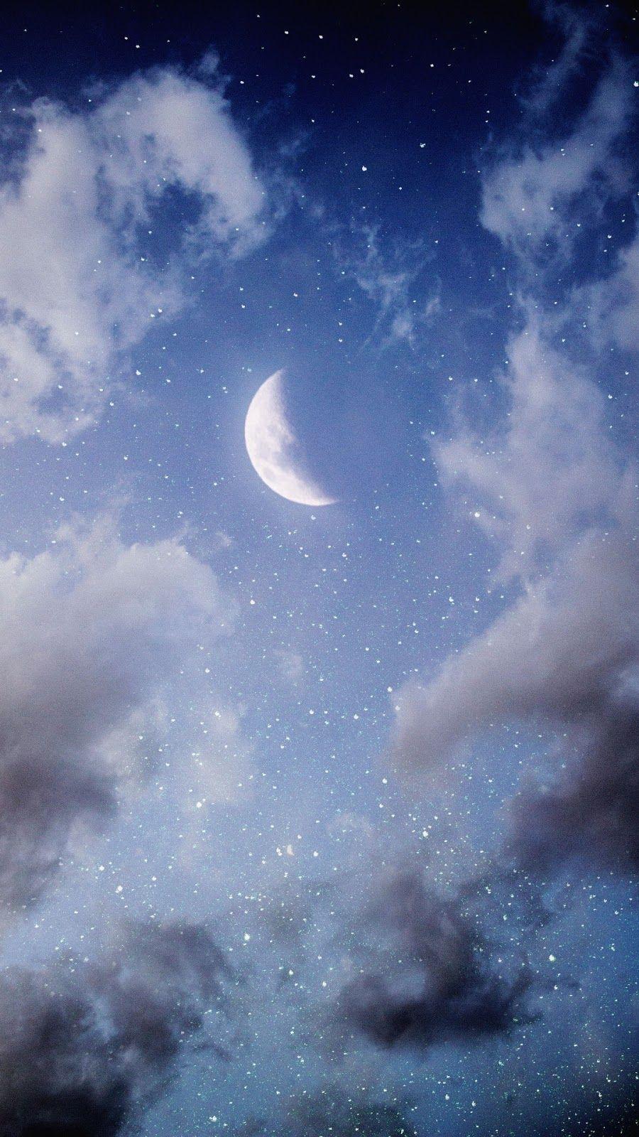 Half Moon Wallpaper Iphone Android Background Followme Moon Photography Beautiful Moon Good Night Moon
