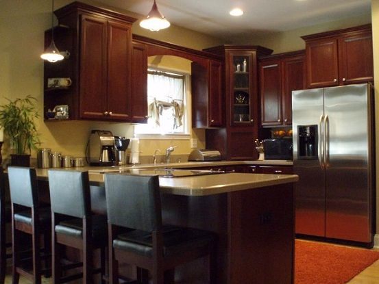 L shaped kitchen designs with snack bar basic for Basic kitchen remodel ideas