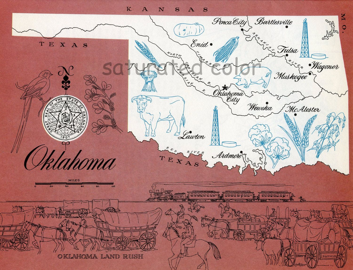 Oklahoma+Map++Vintage+colorful+illustrated+map+by+ ... on