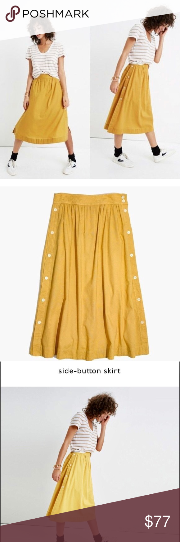 a0ebeb96f Madewell Cumin side button skirt Stock photos for reference only.Not as  bright yellow but