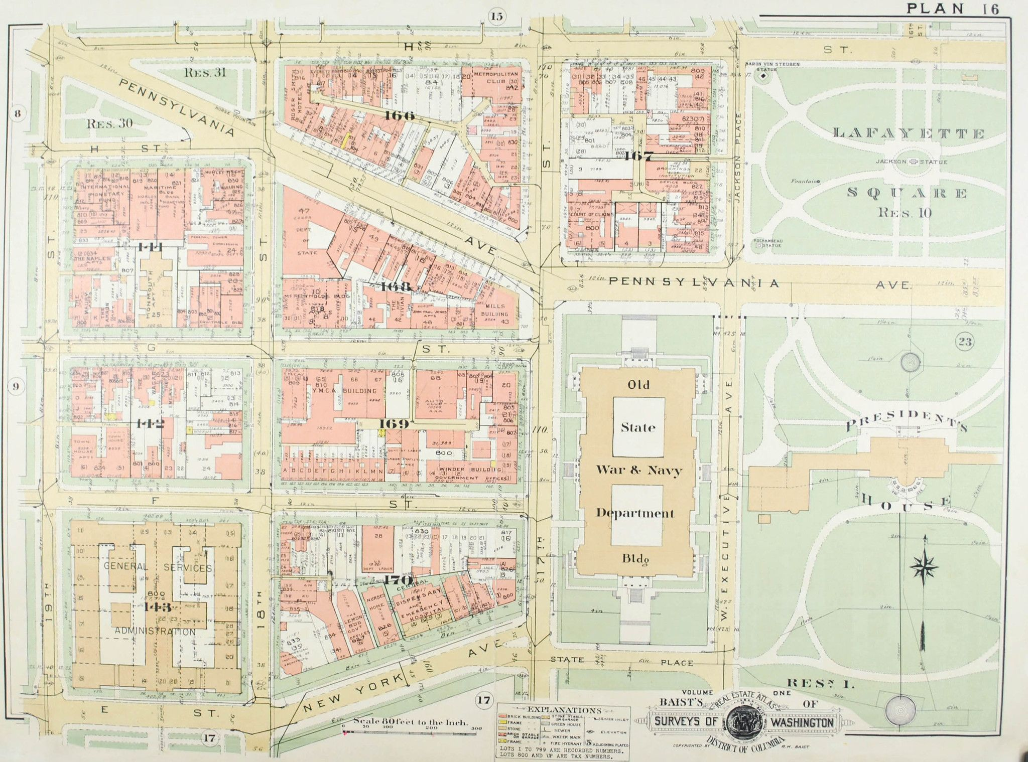 Washington DC White House Vintage Baist City Map  Products - Washington dc gis map