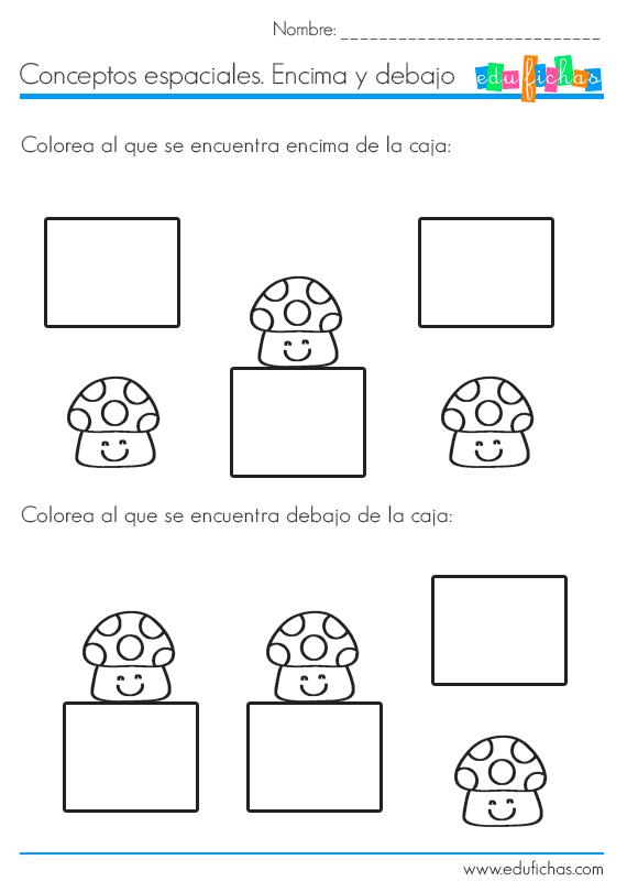 Fichas de conceptos encima y debajo m s fichas como esta for Mesa 5 posiciones