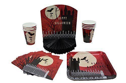 Halloween Party Supplies Kit - Paper Plates, Napkins, Cups, Centerpiece, Decorations, Decor Creative Converting
