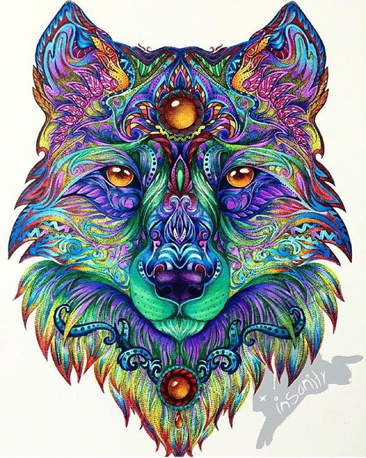 Instagram Art Featuring Page On Instagram Mandala Wolf Beautiful