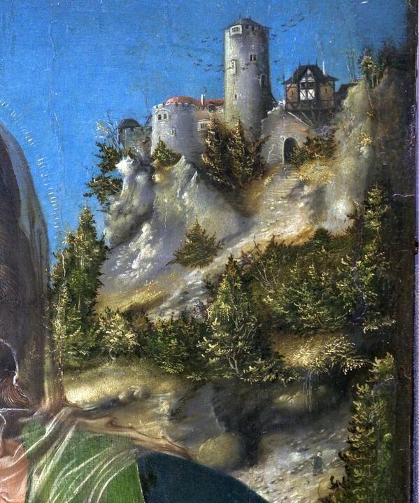 064 La Madonna de Cranach se instala en pleno campo. Perdida en el paisaje, la figura diminuta de José #Thyssen140 pic.twitter.com/1E3JZikrfK