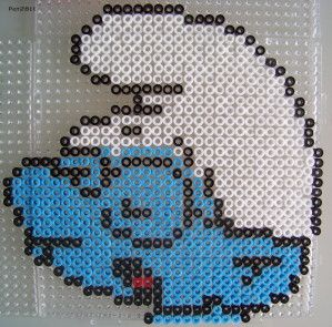 Smurf hama perler by Les loisirs de Pat