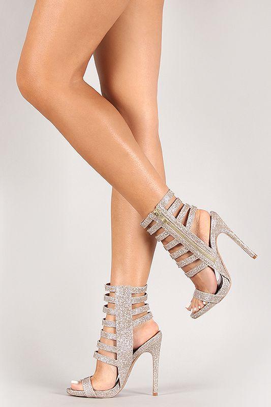 Qupid Glitter Strappy Cuff Stiletto Heel