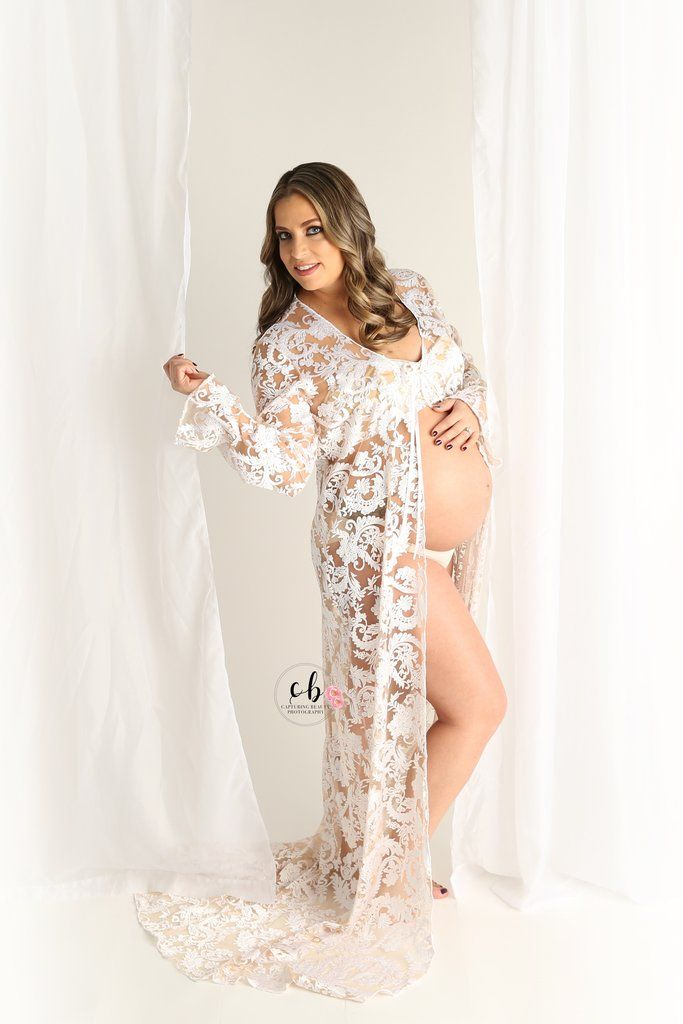 Maternity Vivienne Gown Lace Maternity Robe Couture Maternity Dress ...