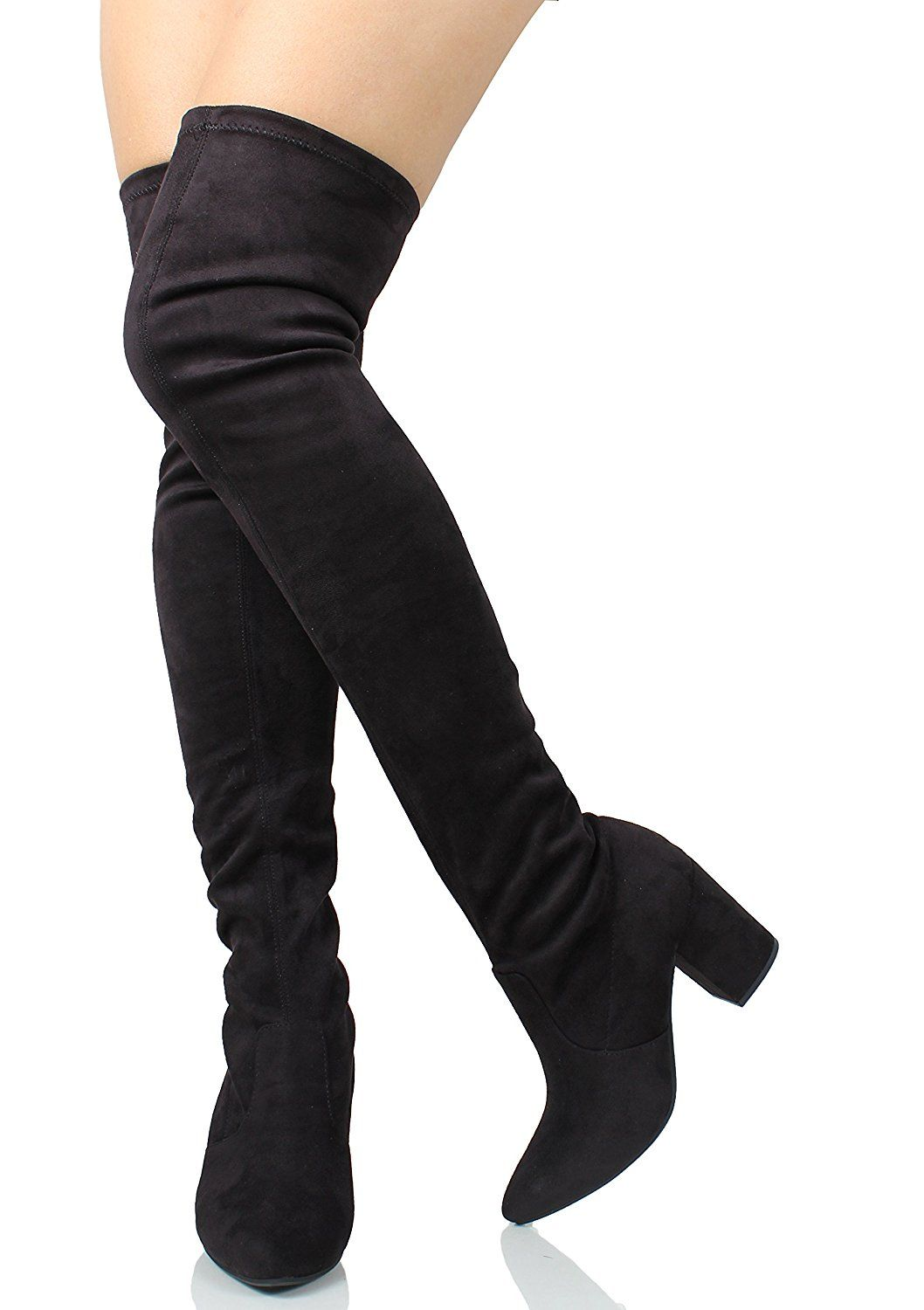 b04562077db3 Delicious Women s Pointy Toe Over The Knee HIgh Heel 3 1 4  Boot (Black Imsu