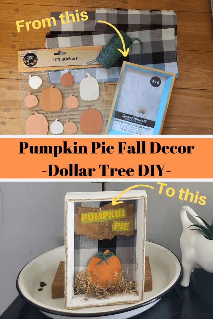 Click to find out how to turn Dollar Tree items into this cute Pumpkin Pie Fall Decor frame!!   #fall #falldecor #dollartreediy #crats #pumpkin #pumpkinpie   Pumpkin Pie Fall Decor - Dollar Tree DIY - Blessings by Me #dollartreecrafts