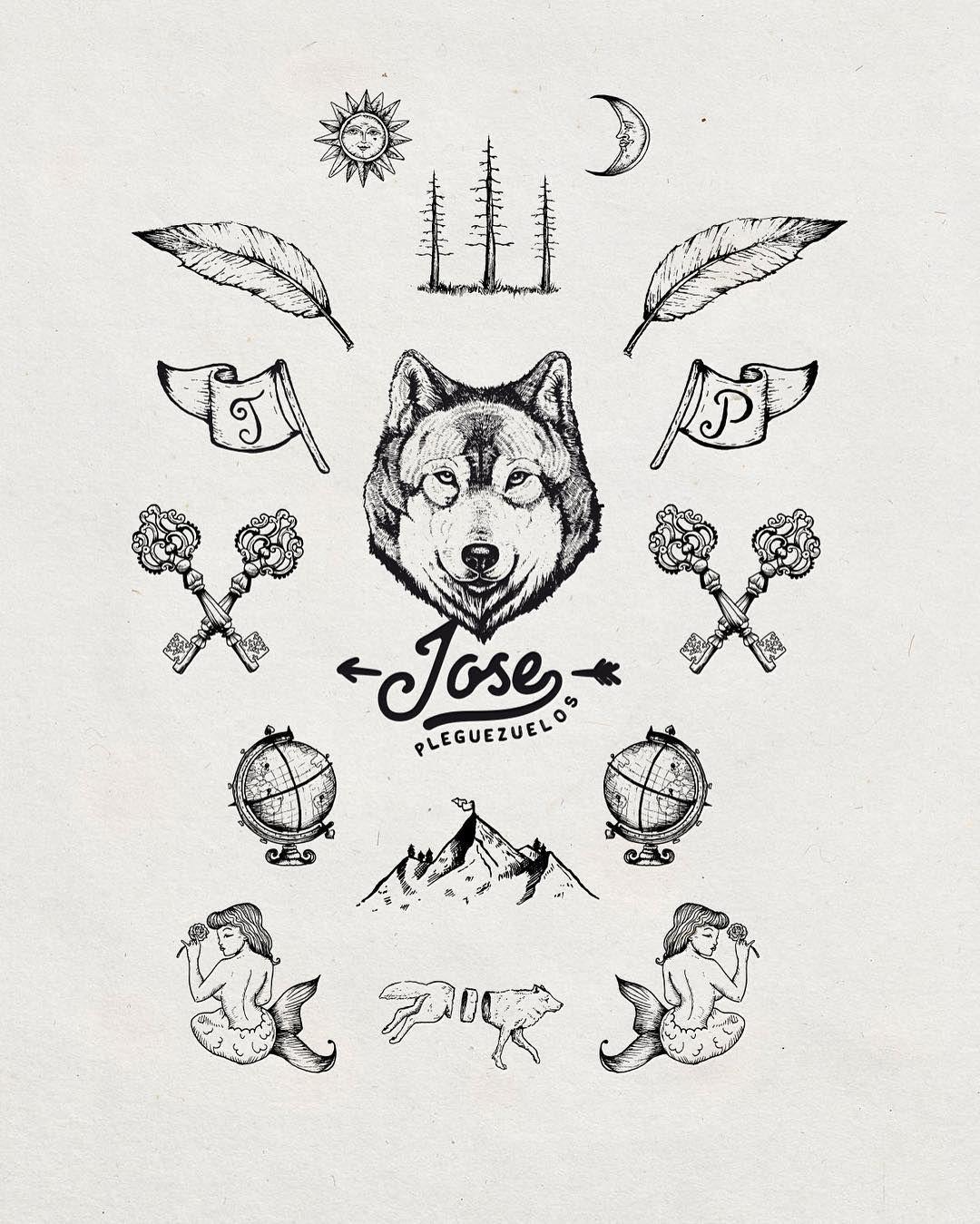 Jose pleguezuelos branding branding logo handdrawn icons wolf
