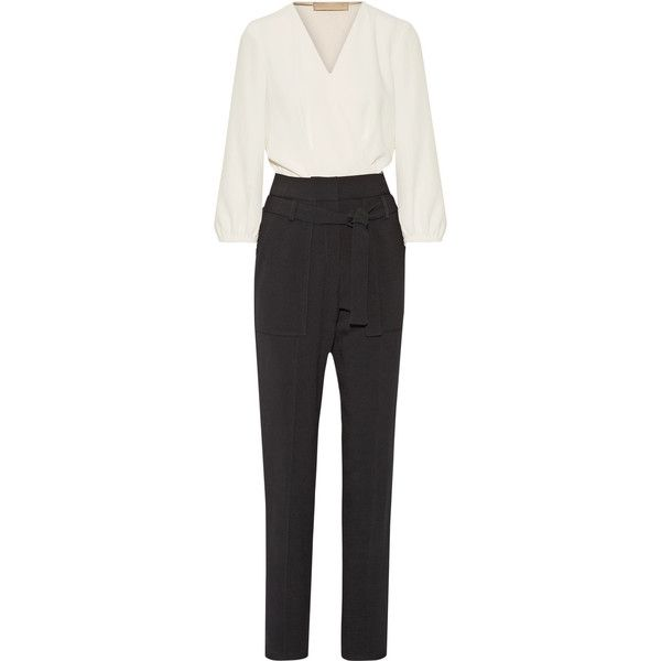 Vanessa Bruno Franco two-tone crepe jumpsuit (2.195 BRL) ❤ liked on Polyvore featuring jumpsuits, ivory, ivory jumpsuit, wrap jumpsuit, vanessa bruno, sash belt and jump suit