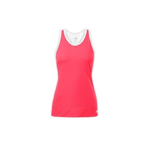The North Face Women's Pulse Active Tank Top - Sleeveless Shirt ($25) ❤ liked on Polyvore featuring activewear, activewear tops, rocket red, the north face, moisture wicking shirts, v neck sleeveless shirt, red shirt and no sleeve shirts