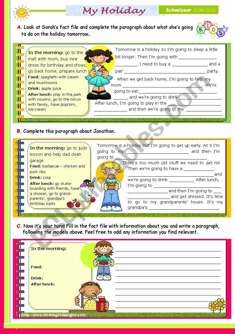Writing Series 21 My Routine On A Holiday 2nd Lesson Of 45 Minutes On The Topic For Upper Elementary A Holiday Writing Upper Elementary Paragraph Writing [ 1169 x 821 Pixel ]