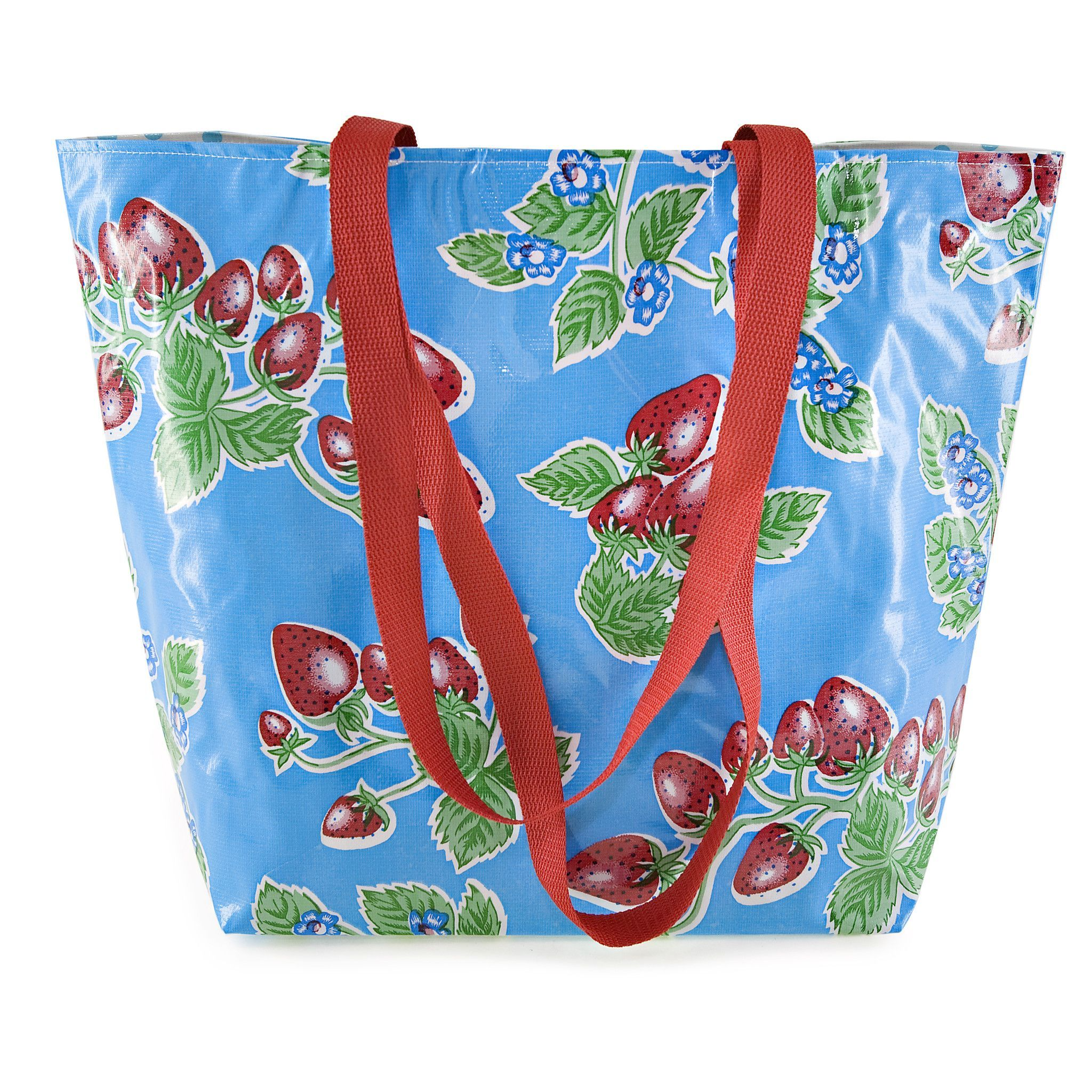 Reversible Oilcloth Totebag - Blue Strawberry
