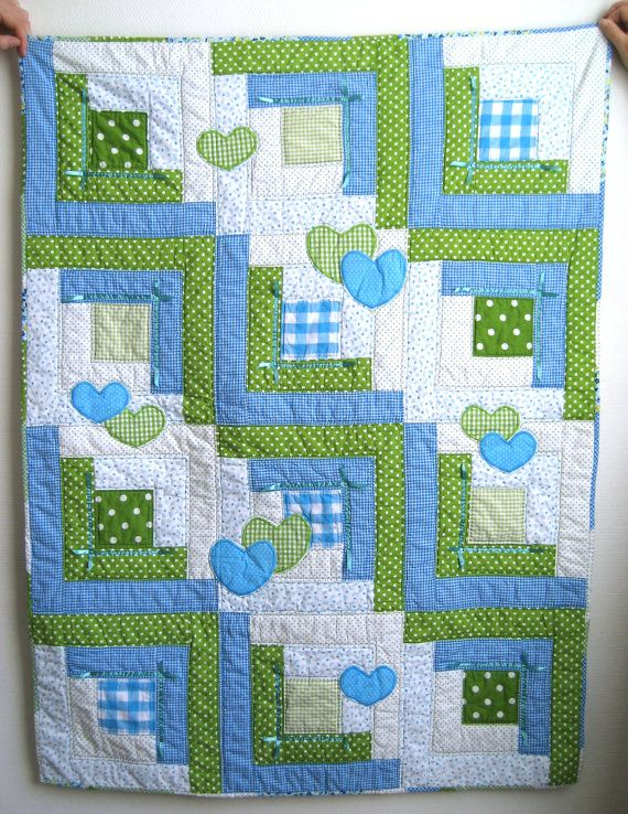 Sale 40 Quilt Handmade Baby Quilt With Appliqued Hearts Crib Quilt Crib Throw Nursery Decor Baby Boy Quilt Blue And Green Handmade Baby Quilts Baby Quilts Baby Boy Quilts