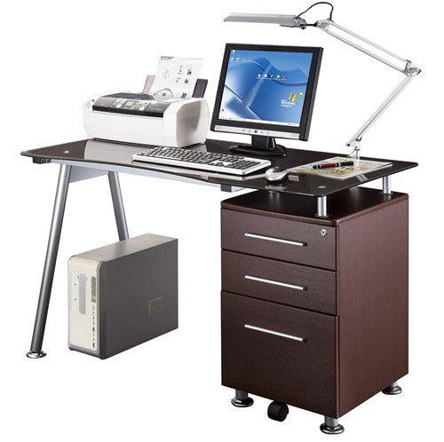 Modern 51 Glass Top Desk Diy Computer Desk Desk Storage