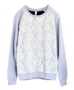 Slim Fit Splice Lace Sweatshirt With Long Sleeves