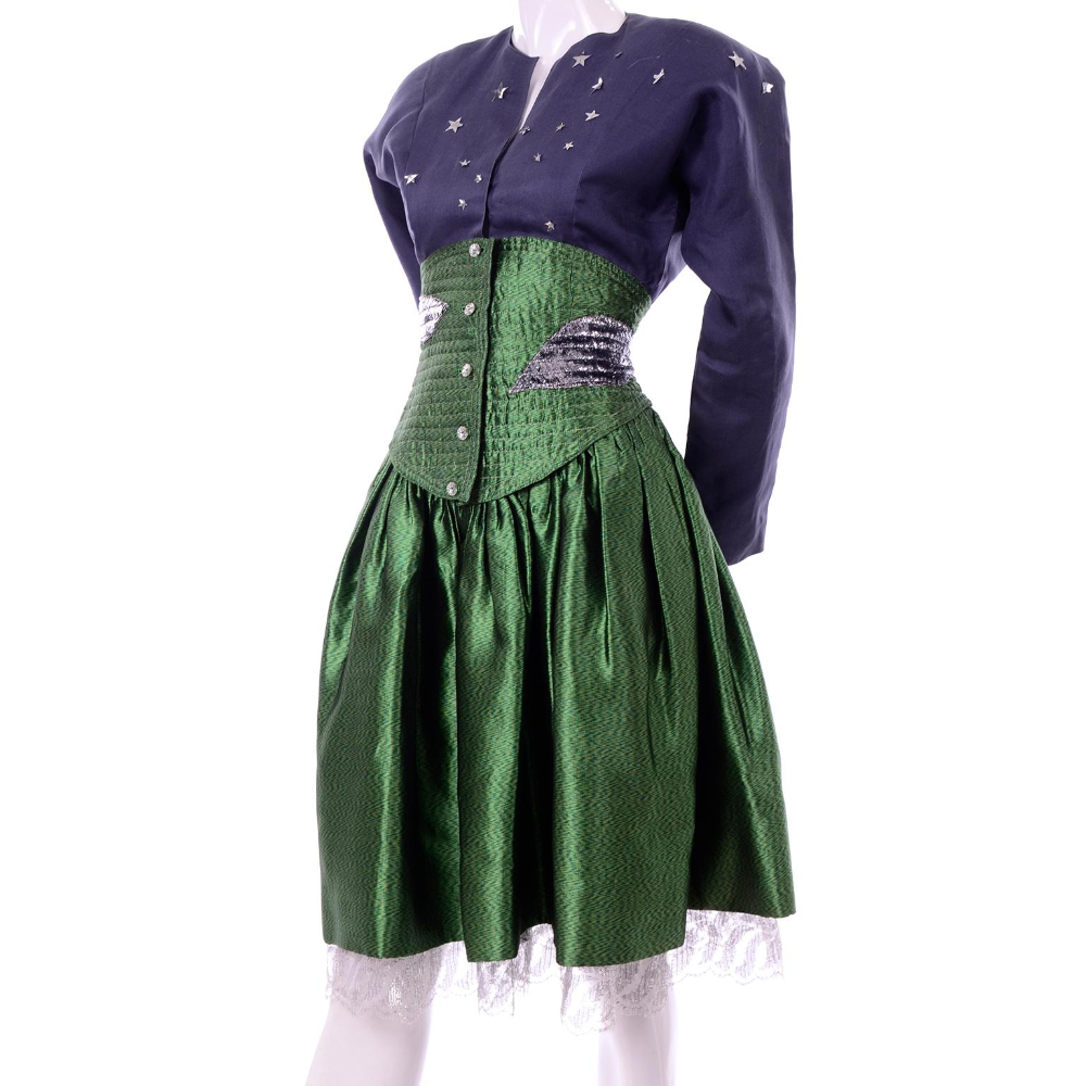 Geoffrey Beene Vintage Green And Blue Dress W Silver Stars And Quilted Corset Waist In 2020 Black Satin Dress Blue Dresses Grey Shift Dress